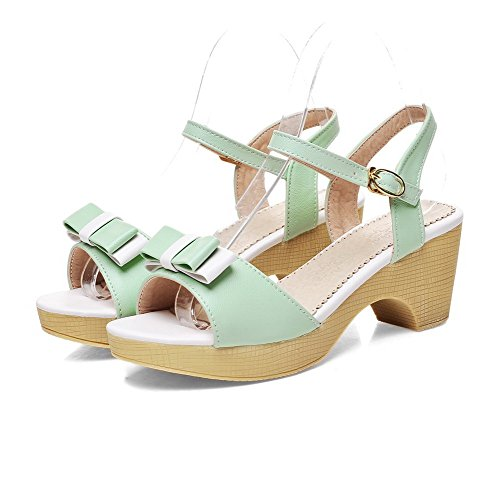 VogueZone009 Women's Soft Material Buckle Open Toe Kitten-Heels Assorted Color Sandals Green drRjPaiSy