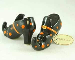 Wicked Witch Shoes Salt & Pepper Shaker Set in Ceramic Black
