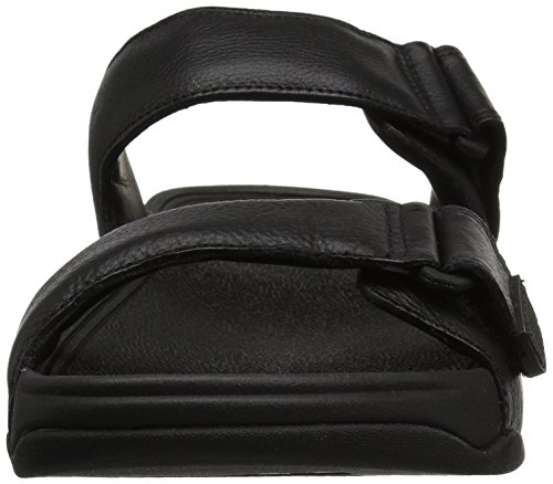 Punta Fitflop Slide Uomo Sandali in Gogh 001 Black Black Aperta Moc Leather rZBqYrx