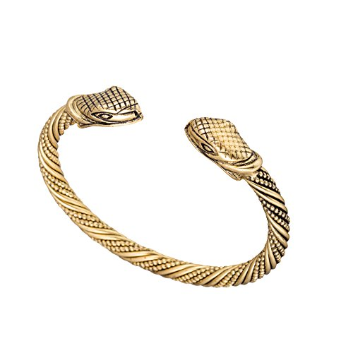 (Qualified Vintage Viking Snake Head Wristband Cuff Bangle Bracelets Jewelry for Unisex People (Antique Brass) )
