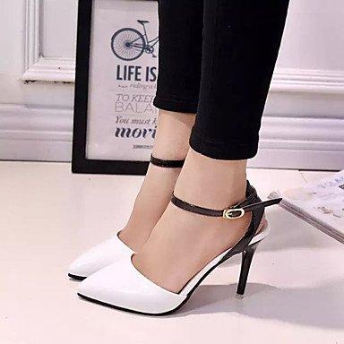 LFNLYX Tacones mujer primavera otoño comodidad PU Stiletto talón exterior negro Blanco Rosa Azul Black
