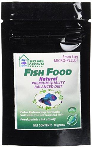 HOME GROWN PONICS  Fish Food # 96050 Natural  .5mm -20 gram bag - Home Fish