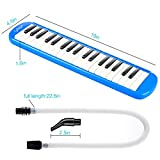 CAHAYA Melodica 37 Keys Pianica with Long Pipe Short Mouthpiece and Carrying Bag for Children Student Blue