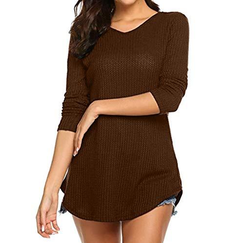 AOJIAN Blouse Women Long Sleeve T Shirt Backless Buttons Tunics Tees Tank Shirts Tops Brown