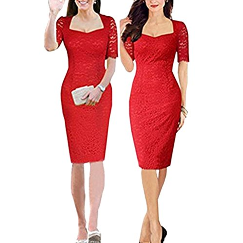 Zumeet Kate Middleton Wearing Lace Dress Red (MEDIUM, RED)
