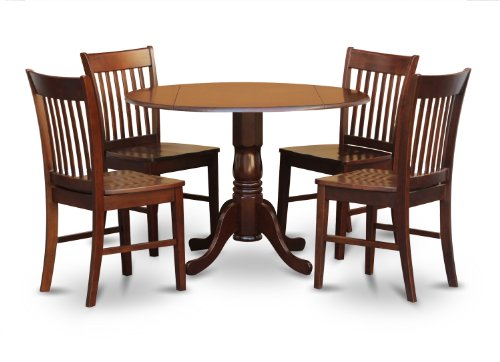 East West Furniture DLNO5-MAH-W 5-Piece Kitchen Table and 4