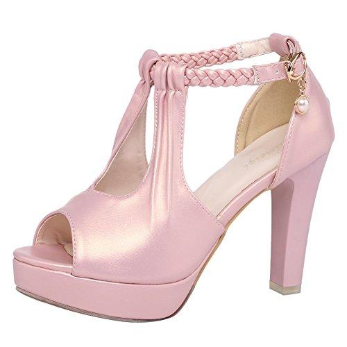 Carolbar Womens Platform Peep Toe Braid Heeled Wedding Dress Sandals Pink EueHTv1ZUL