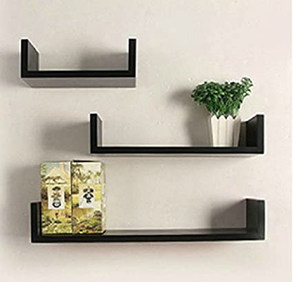 Homdox Floating U-Shaped Wall Shelves Wall Mounted Set of 3, Nature Wood  Wall Shelves for Bedroom, Living Room, Bathroom, Kitchen, Office and More