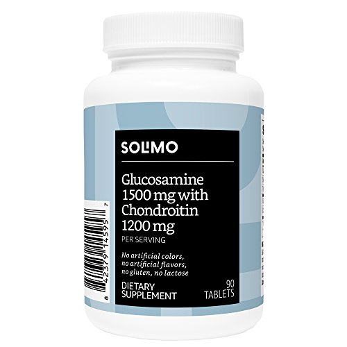 Amazon Brand - Solimo Glucosamine 1500mg with Chondroitin 1200mg, 90 Tablets, 45-Day Supply