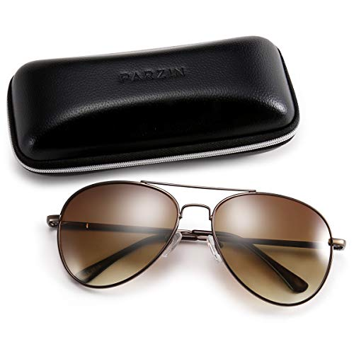 Classic Aviator Sunglasses for Men, PARZIN Women Vintage Mirrored Beach Glasses UV Protection PZ2018 ()