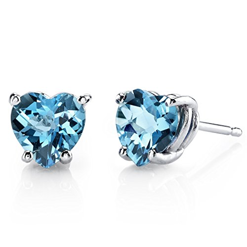 14 Karat White Gold Heart Shape 1.75 Carats Swiss Blue Topaz Stud Earrings