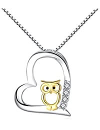 S925 Sterling Silver Women Necklace Love Heart Gold Owl...