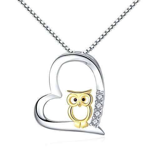 Cuoka S925 Sterling Silver Women Necklace Love Heart with Gold Owl Pendant Necklaces for Mom Jewelry Necklaces