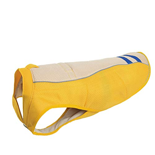 (POPETPOP Dog Cooling Vest Pet Outdoor Summer Jacket Clothes Sunscreen Dog Coat - Size M (Yellow) )
