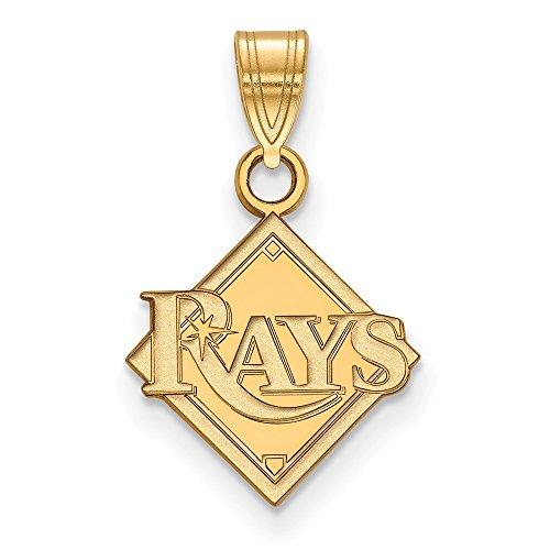 (Roy Rose Jewelry 10K Yellow Gold MLB LogoArt Tampa Bay Rays Small Pendant)