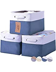"""KAKAMAY Storage Basket (Set of 3), Fabric Large Collapsible Storage Bins Cube W/Handles for Organizing Shelf Nursery Home Closet & Office (Blue and White,15"""" x 11"""" x 9.5"""")"""