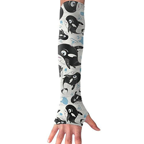 Cute Killer Whale Super Long Fingerless Anti-uv Sun Protection Sleeves Gloves For Outdoor Activities Apply To Camping,Driving,Hiking,Cycling Arm Prevent Injuries Modeling Classic ()