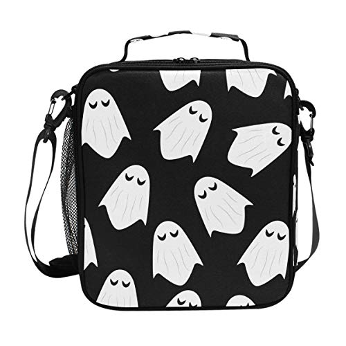 Ghost Halloween Pattern Lunch Bag with Zip Closure Insulated Lunch Box Tote Bag For Kids,Adults,School,Office ()
