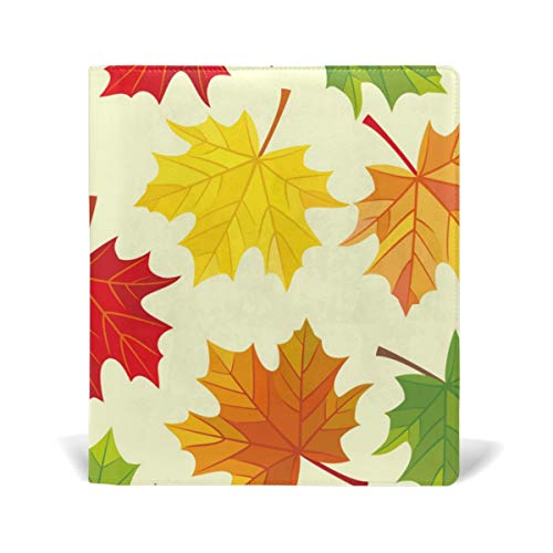 ColourLife Leather Book Covers for Textbooks Hardcovers Vivid Maple Leaves School Books Protector 9 x 11 Inches