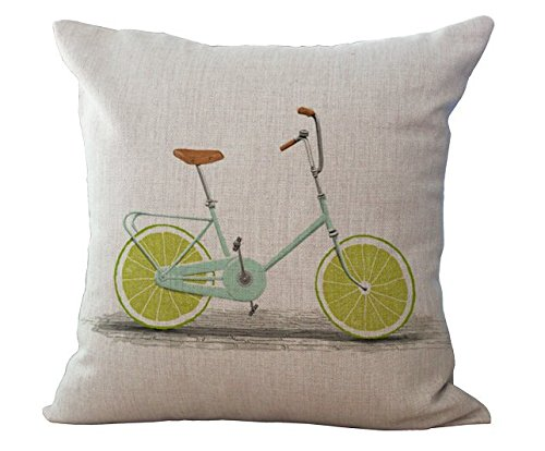Light Green Linen (Miracle Dec Green Lemon Bicycle Linen Polyeser Square Throw Pillow Covers Cushion Cases Sham For Bench(17