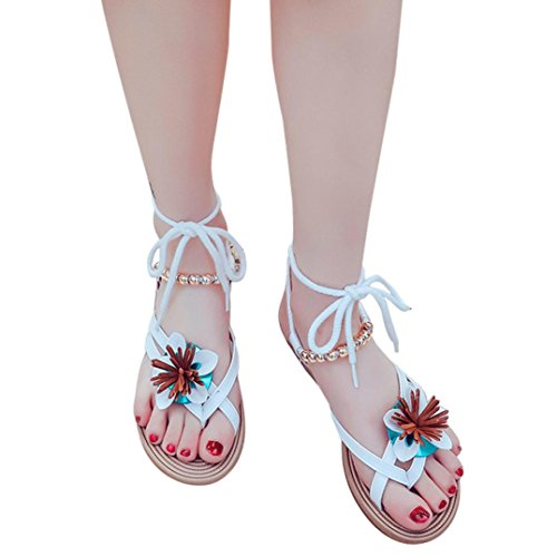 Women Flower Flats Sandals Shoes Strappy Wedge Sandals Summer Beach Slippers Flats Hemlock (US:7.5, White) -