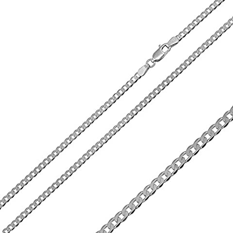 1.9mm Sterling Silver Italian Necklace Rhodium Plated Flat Curb Chain (18, 20, 24, 30 Inch), 24 (Cadena De Plata Para Hombre)