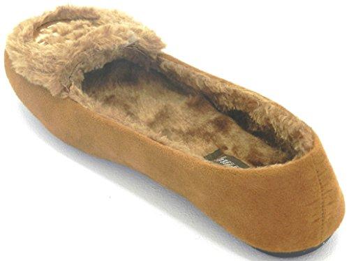 Les Femmes Chaudes Dhiver Confortable Fourrure Classique Doublure Mocassin Glisser Sur Les Chaussures Plates Motif Chameau