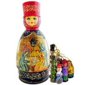 Nesting Dolls Open Up Doll With Christmas Ornaments''Nativity of Christ'' Hand Carved Hand Painted 8 1/2''x4'' by ALEX001 (Image #1)