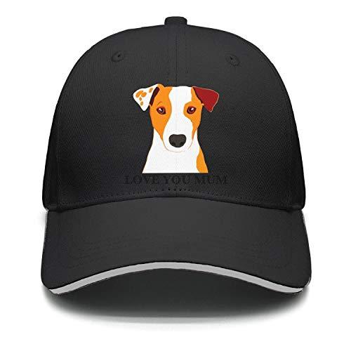 BlackClassic Caps Jack Russell Terrier Dog 'Love You Mum' Coffee Unisex Adjustable Mesh Sun Hats ()