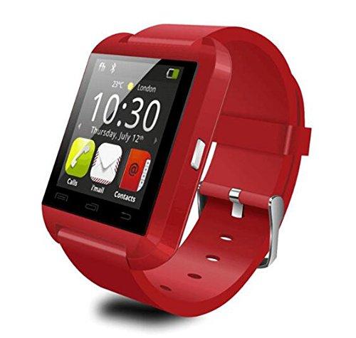 U8 Blutooth Smartwatch para Android Sistema teléfonos móviles y Limitada Funciones para ISO teléfonos (Rojo)