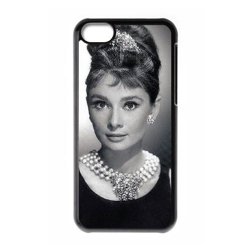 Audrey Hepburn coque iPhone 5C Housse téléphone Noir de couverture de cas coque EBDOBCKCO13487