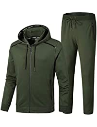 100% authentic a9abd 41cb5 Men s Casual 2 Pieces Contrast Cord Full Zip Sports Sets Jacket   Pants  Active Fitness Tracksuit