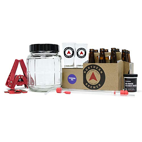 Northern Brewer - All Inclusive Gift Set 1 Gallon Small Batch HomeBrewing Starter Kit - One Gallon Recipe With Equipment For Making Homemade Beer (Go Pro Chinook IPA) ()