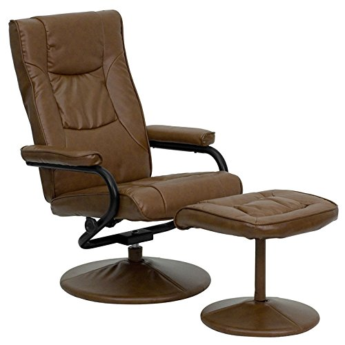 Contemporary Palimino Leather Recliner & Ottoman w/Leather Wrapped Base