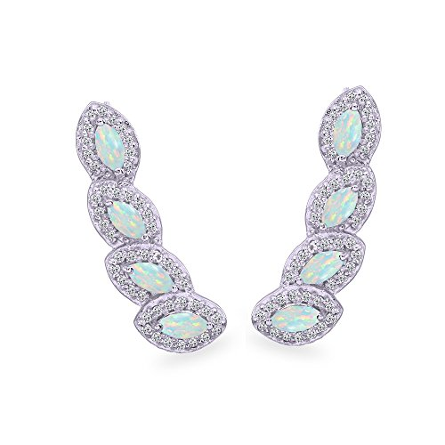 (Sterling Silver Simulated Opal & White Topaz Marquise Halo Climber Crawler Earrings)