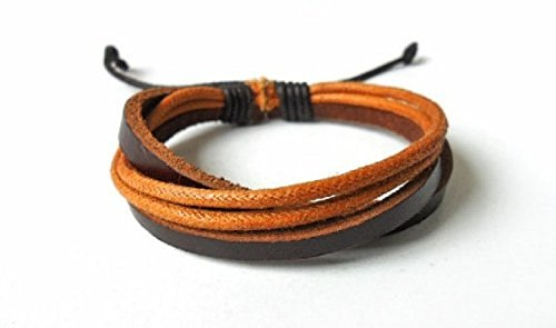YSW Fashion Adjustable Multilayer Weaved Leather Cotton Rope Wrap Bracelet Friendship Gift Weaved Friendship Bracelet
