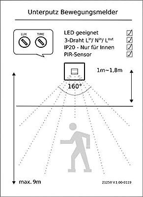 Detector de Movimiento Empotrado, 160°, 9 m de Alcance, LED, 3 alambres de Infrarrojos, Color Blanco: Amazon.es: Bricolaje y herramientas
