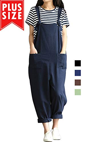 Lncropo Women Large Plus Size Baggy Linen Overalls Casual Wide Leg Pants Sleeveless Rompers Jumpsuit Vintage Haren Overalls (L, Blue) ()