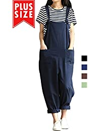 2475824d834f Women Plus Size Overalls Cotton Wide Leg Jumpsuits Vintage Baggy Pants  Casual Rompers