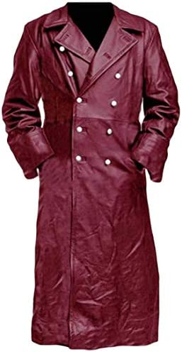 Aysselt Men Slim Fit Medieval Double-Breasted Trench Overcoat Faux Leather Jacket CoatPocket
