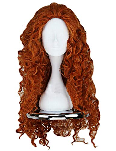 Angelaicos Women's Fluffy Wavy Party Halloween Costume Merida Wig Long Brown]()