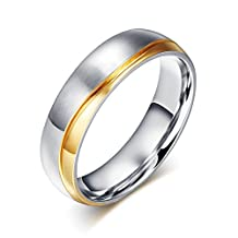 CARTER PAUL Men's Stainless Steel Wave Gold Plating Ring Wedding Band