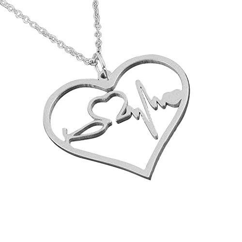 Nurse Gifts Jewelry EKG Heartbeat Necklace - Looks amazing - (Silver)