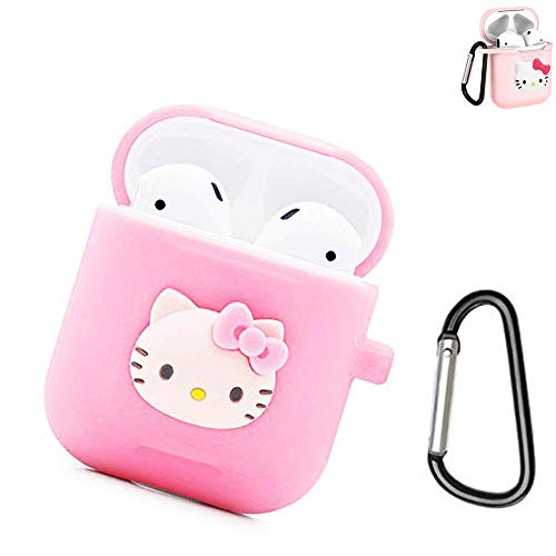 Airpods Case, 2019 Newest Full Protective Shockproof Case Cover & Hello Kitty Soft 3D Cartoon Silicone Cover Case for Apple Airpods 2 &1 Charging Cases with Carabiner Keychain (Contact Case Hello Kitty)