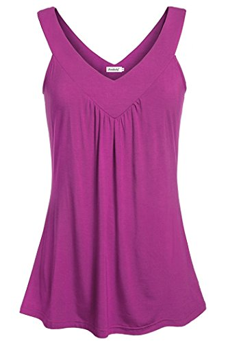 (Ninedaily Flowy Tank Tops Women, Summer Smooth V Neck Shirt Solid Tunic Tops Ladies Sleeveless Swing Tank A Line Flattering Tunic Tank Modern Boutique Party Shirt Misses Bright Purple Size 2XL)