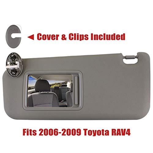 IAMAUTO 08253 Left Driver Side Gray Sun Visor for 2006 2007 2008 2009 Toyota RAV4 with Vanity Light (Sun Visor For Rav4 Driver Side)