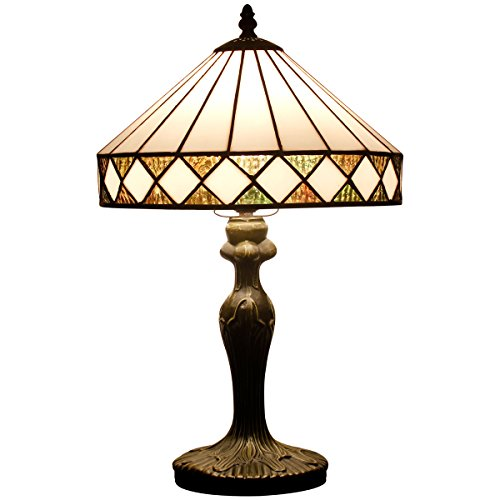 Tiffany style table lamp light S050 series 18 inch tall white Polygon shade E26 - Antique Partners Desk