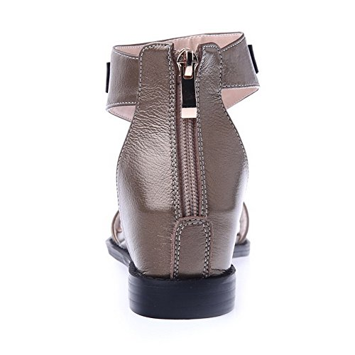 Cow Toe Low Womens Heels Sandals Leather Open AmoonyFashion Brown Solid Zipper Up1IqnTEw