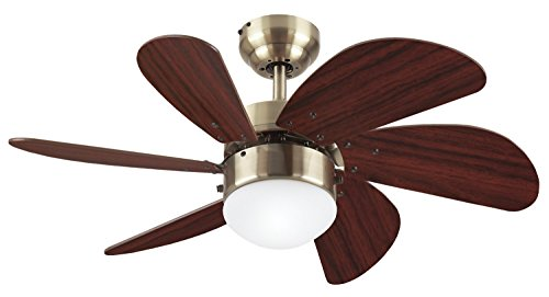 (Westinghouse Lighting 78248 Turbo Swirl Single-Light 30-Inch Six-Blade Ceiling Fan, Antique Brass with Frosted Globe)