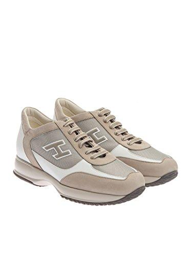Hogan Mannen Hxm00n0q102fj6637m Beige / Wit Lederen Sneakers